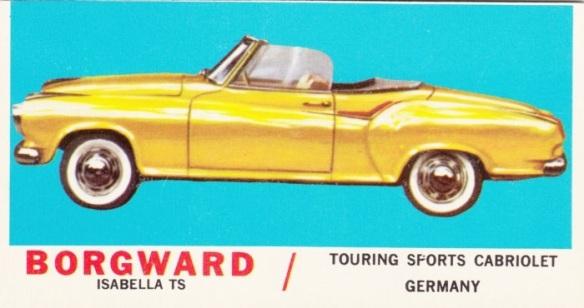 1961 Topps Sports Cars Borgward Isabella TS