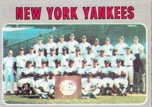 1970 Topps New York Yankees Team